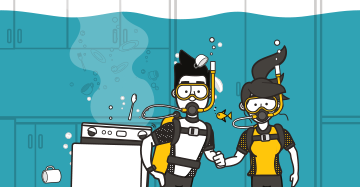 cartoon couple scuba diving at home