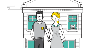 cartoon couple standing outside house