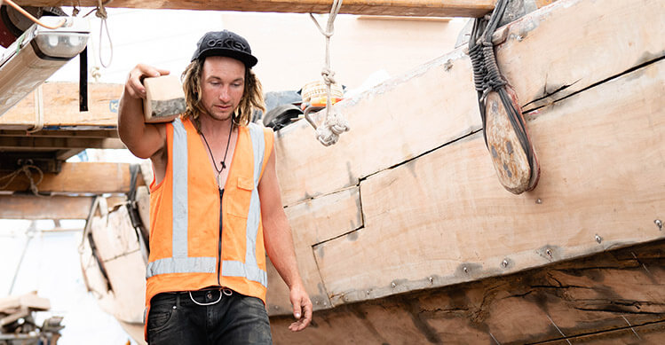 tradie talking on phone