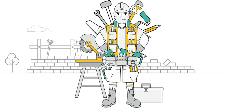 cartoon man with tools standing on job site